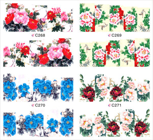1 sheet Bright-Coloured Peony Water Transfer Nail Art Stickers Decals Full Nail Foils Wraps Manicure Decoration Tools C268-C271 - Cerkos.com