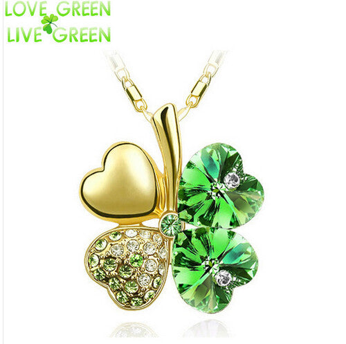 Free Shipping Factory Wholesale Price 18K GP Austrian Crystal Clover 10 colors mixed 4 Leaf Leaves pendant Necklace jewelry 9554 - Cerkos  - 10