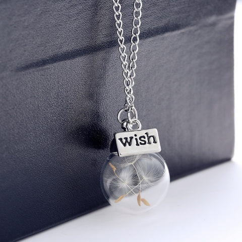 1PC Wish bottle Necklace Real Dandelion Seeds Water Drop Bottle Botanical Pendant Necklace For Women - Cerkos.com