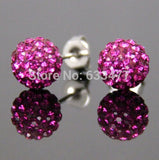Free Shipping 19 Color 10MM New Shamballa Earrings Micro Disco Ball Shamballa Crystal Stud Earring For Women Fashion Jewelry - Cerkos  - 7