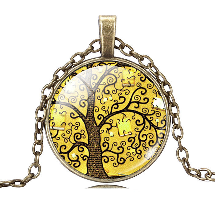 Life Tree Pendant Necklace Eternal Tree Art glass cabochon Bronze chain vintage choker statement Necklace Fashion women Jewelry - Cerkos  - 2