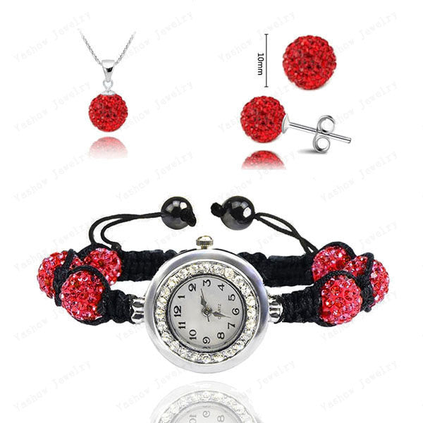Fashion Watch Crystal Shamballa Set Crystal Pendant+Bracelet+Crystal Earring Jewelry Set 10MM Disco Ball Free Shipping - Cerkos  - 14