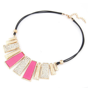 New Vintage Jewelry Gold Plated Alloy Crystal PU Leather Necklaces & Pendants - Cerkos  - 2
