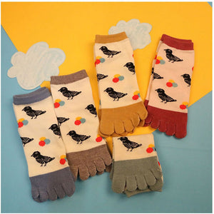 2015 New Hot Fashion bird printed 5 toes socks Breathable Socks for lady women - Cerkos  - 2