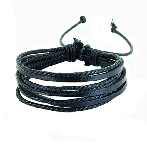 Women's men's Synthetic Leather Braided Rope Adjustable Multilayer Sporty Bracelet