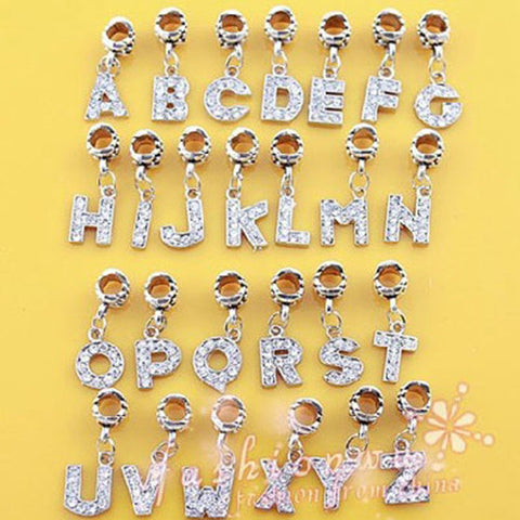 Cerkos.com: Alloy Bead Charm European Letter of The Alphabet Silver Bead Fit BIAGI Bracelets & Bangles 1Pc - Cerkos.com