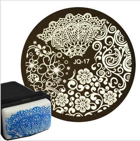 1pc Beauty Flower Styles Image Polish Printing Nail Stamping Plates Nail Art Templates Stencils Manicure Styling Tools #JQN-17 - Cerkos.com