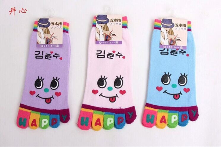 Wiggle Sock Fashion Five toe sock women Sweet Girl type (Hello Kitty cat / Bear / Striped / Surprise / leopard cat ) short socks - Cerkos  - 5