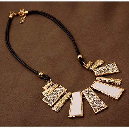 New Vintage Jewelry Gold Plated Alloy Crystal PU Leather Necklaces & Pendants - Cerkos  - 3