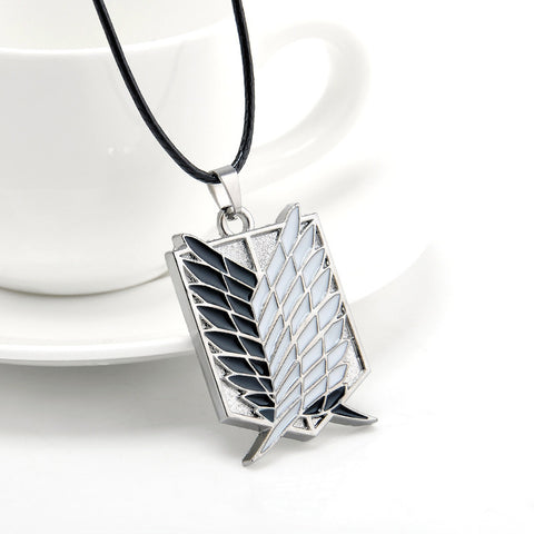 Metal Anime Attack on Titan Wings of Liberty Pendant Necklace Shingeki no Kyojin Cosplay Necklace Survey Corps Choker Necklace - Cerkos