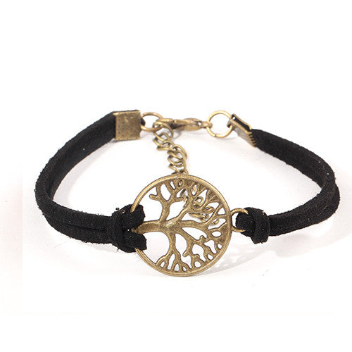 Fashion Vintage Hand-woven Rope Chain Leather Bracelet Metal Tree Charm Bracelets Jewelry For Women