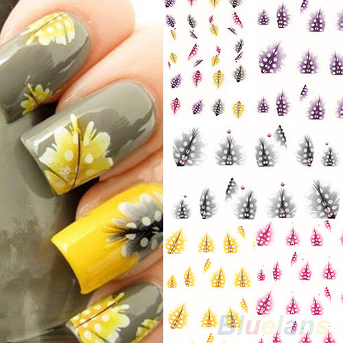 1 Sheet  New fashion creative Feather 3D Nail Art Water Decal Sticker Fashion Tips Decoration 01RI - Cerkos.com