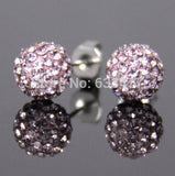 Free Shipping 19 Color 10MM New Shamballa Earrings Micro Disco Ball Shamballa Crystal Stud Earring For Women Fashion Jewelry - Cerkos  - 16