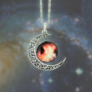 Brand Fashion Jewelry Choker Necklace Glass Galaxy Lovely Pendant Silver Chain Moon Necklace & Pendant - Cerkos  - 13