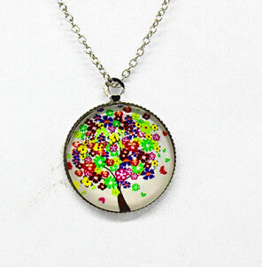 x363 Life Tree Pendant Necklace Art Tree glass cabochon Necklace silver chain vintage choker statement - Cerkos  - 13