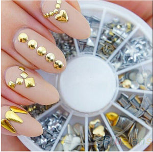 6 Styles Silver/Gold Nail Art 3D Glitter Rhinestones Gems Decoration Round Wheel Stickers Square Punk Rivet - Cerkos.com