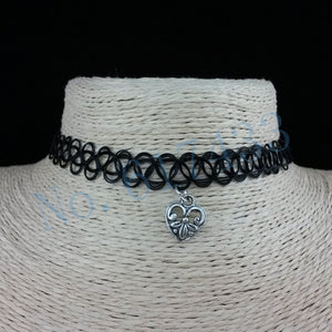 Handmade Hot Selling Vintage Stretch Tattoo Choker Necklace Gothic Punk Grunge Henna Elastic with Pendant Necklaces - Cerkos  - 12