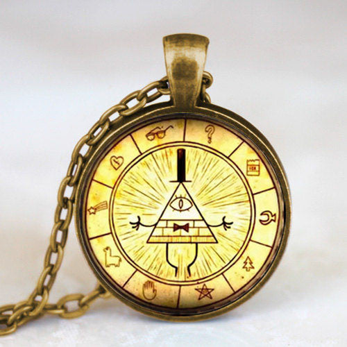 Steampunk Drama Gravity Falls Mysteries BILL CIPHER WHEEL Pendant Necklace glass doctor who chain 1pcs Glass men Pendant jewelry - Cerkos  - 16