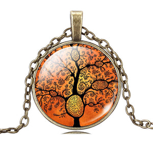 Life Tree Pendant Necklace Eternal Tree Art glass cabochon Bronze chain vintage choker statement Necklace Fashion women Jewelry - Cerkos  - 5