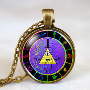 Steampunk Drama Gravity Falls Mysteries BILL CIPHER WHEEL Pendant Necklace glass doctor who chain 1pcs Glass men Pendant jewelry - Cerkos  - 13