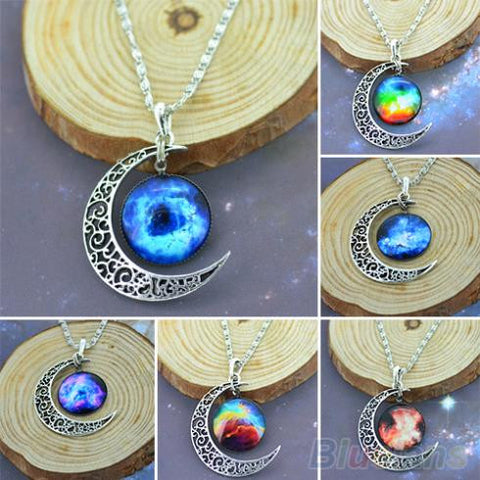 Classic Hot  Women Fashion Galactic Glass Cabochon Pendant Silver-Tone Crescent Moon Necklace  02UK - Cerkos.com