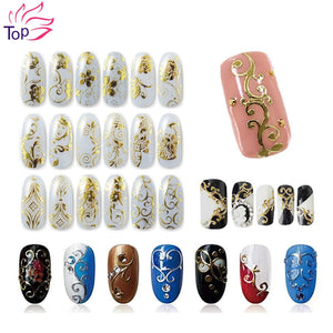 108 Pattern/Sheet Large Size Bronzing Stickers Paste Manicure Gold Silver Flowers Sticker & Decal 3D Nail Art Decorations JH125 - Cerkos.com