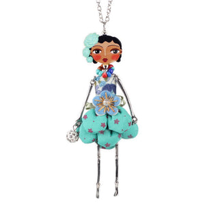 Bonsny doll necklace dress coral trendy new 2015 acrylic alloy cute girl women flower figure pendant fashion jewelry accessories - Cerkos  - 1