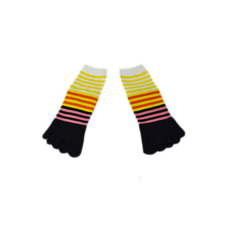 Wiggle Socks Creative Fashion Stripe Middle Tube Socks Women Stripe Cotton Casual Socks Daily Sports GYM Five Toe Socks - Cerkos  - 16
