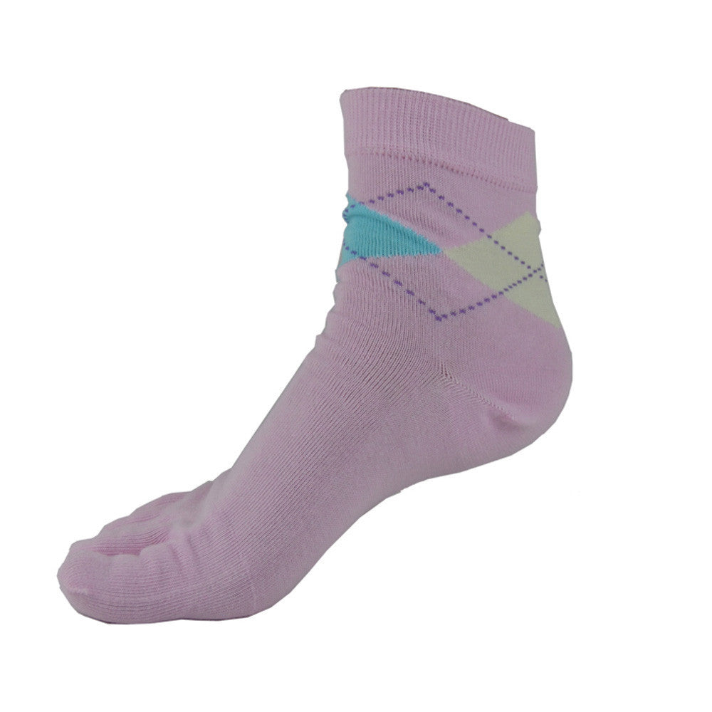 Wiggle Socks Stylish New pink Women's Middle Tube Sports Running Cotton Five Finger Toe Socks - Cerkos  - 2