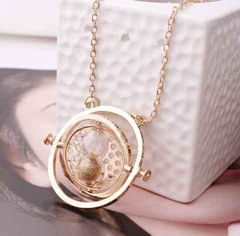 Hot Sale Harry Potter Time Turner Necklace Hermione Granger Rotating Spins Gold Hourglass - Cerkos  - 1