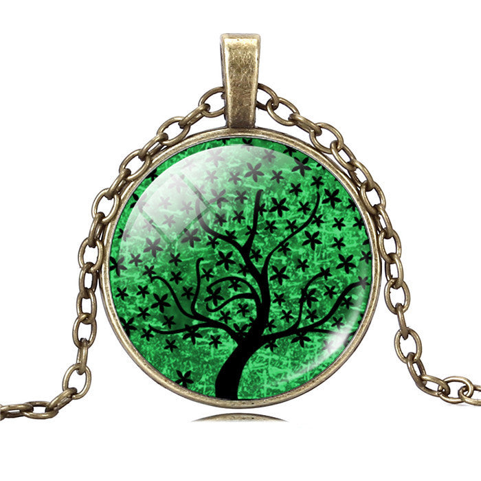 Life Tree Pendant Necklace Eternal Tree Art glass cabochon Bronze chain vintage choker statement Necklace Fashion women Jewelry - Cerkos  - 12