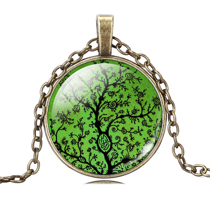 Life Tree Pendant Necklace Eternal Tree Art glass cabochon Bronze chain vintage choker statement Necklace Fashion women Jewelry - Cerkos  - 3