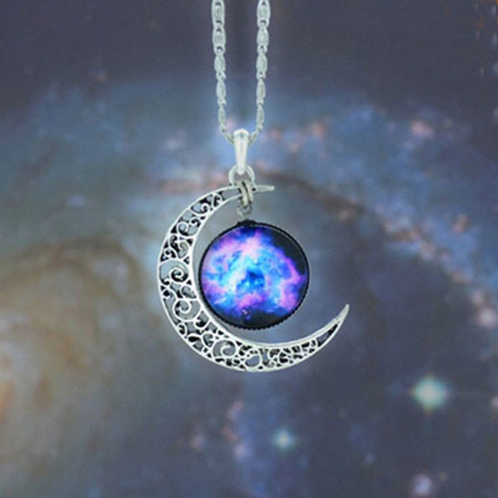 Brand Fashion Jewelry Choker Necklace Glass Galaxy Lovely Pendant Silver Chain Moon Necklace & Pendant - Cerkos  - 10
