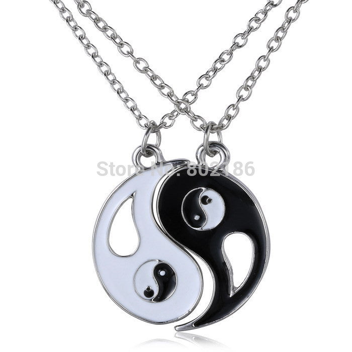2P Yin Yang Pendant Necklace Black White Couple Sister Friend Friendship Jewelry Unique Personalized Gifts - Cerkos.com