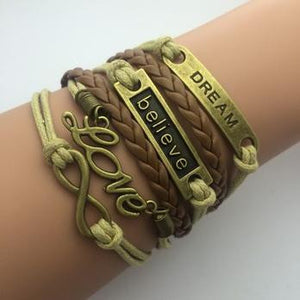 AB076 Fashion jewelry leather Double infinite multilayer bracelet factory price wholesales - Cerkos  - 20