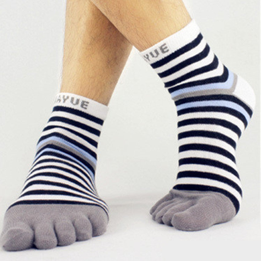 Wiggle Socks Toe Socks Casual Thin Cotton Striped Thin Fashion Men Toe Sock Meias Sport Breathable Ankle 5 Finger Toe Socks - Cerkos  - 1