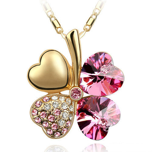 Free Shipping Factory Wholesale Price 18K GP Austrian Crystal Clover 10 colors mixed 4 Leaf Leaves pendant Necklace jewelry 9554 - Cerkos  - 6