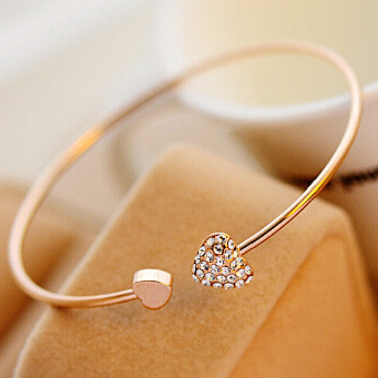 Cerkos.com: Fashion Chic Lovely Gold Plated Rhinestone Heart Shape Cuff Bracelet Bangle Lady Girl Party Prom Gift - Cerkos.com