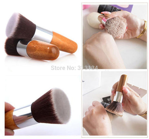 1 PCS Flat Top Buffer Foundation Powder Brush Cosmetic Makeup Tool Wooden Handle - Cerkos.com