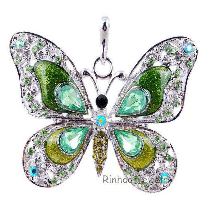 Beautiful Rhinestone Butterfly Long Necklaces Sweater Necklaces  Fashion Necklace For Women Necklace Pendants Silver Jewelry - Cerkos  - 6