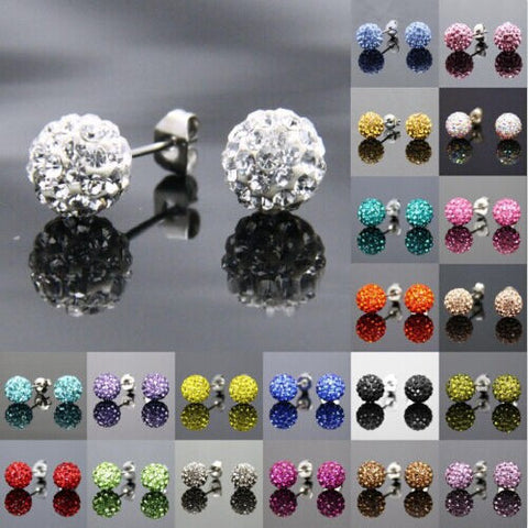 Free Shipping 19 Color 10MM New Shamballa Earrings Micro Disco Ball Shamballa Crystal Stud Earring For Women Fashion Jewelry - Cerkos.com