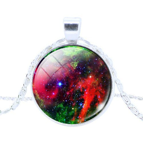 2014 New vintage Nebula turquoise space pendant , astronomy geek jewelry, sci-fi science galaxy space necklace best gift - Cerkos.com