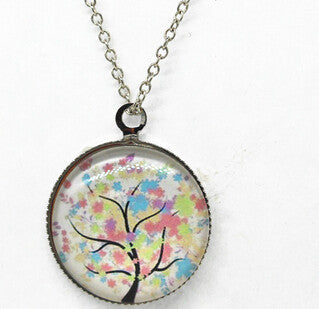 x363 Life Tree Pendant Necklace Art Tree glass cabochon Necklace silver chain vintage choker statement - Cerkos  - 9