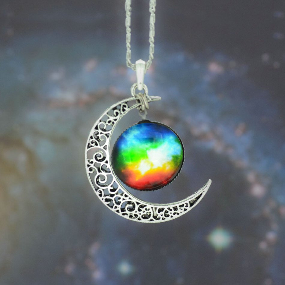 Galaxy Necklace Lovely Moon Galaxy Nebula Space Antique Silver Alloy Pendant Platinum Plated Chain Necklace Couple Gift 2014 HOT - Cerkos  - 13
