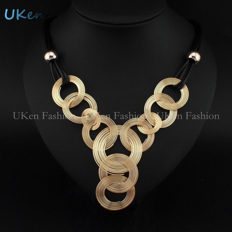 2015 New Arrival Black Leather Chain Weave Circle Metal Wire Chokers Colares Pendants Necklaces Statement Jewelry Bijuterias - Cerkos.com