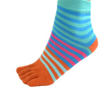 Wiggle Socks Creative Fashion Stripe Middle Tube Socks Women Stripe Cotton Casual Socks Daily Sports GYM Five Toe Socks - Cerkos  - 27