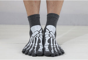 2015 Punk Rock Men's Toe Socks Skull Design Hip Hop Cotton Sock Coolmax high quality sports Socks 6 Color - Cerkos.com