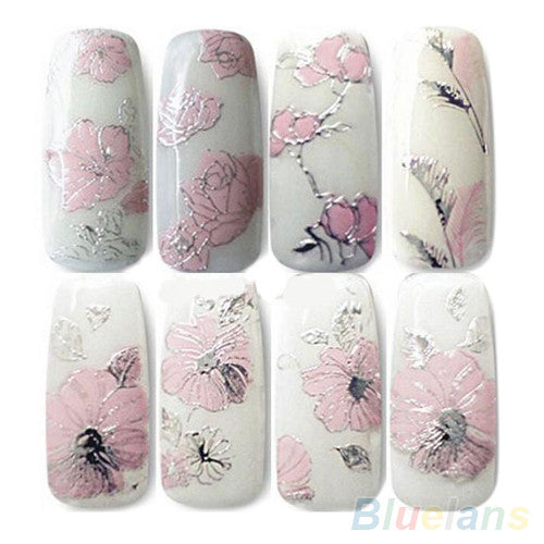 3D Nail Stickers Embossed Pink Flowers Design Nail Art Decal Tips Stickers Sheet Manicure  1ORG - Cerkos.com