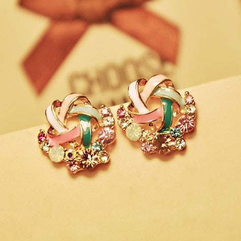 2015 New Korean Upscale Jewelry Wholesale Fashion Elegant Temperament Distorted Color Rhinestone Stud Earrings for Women - Cerkos.com