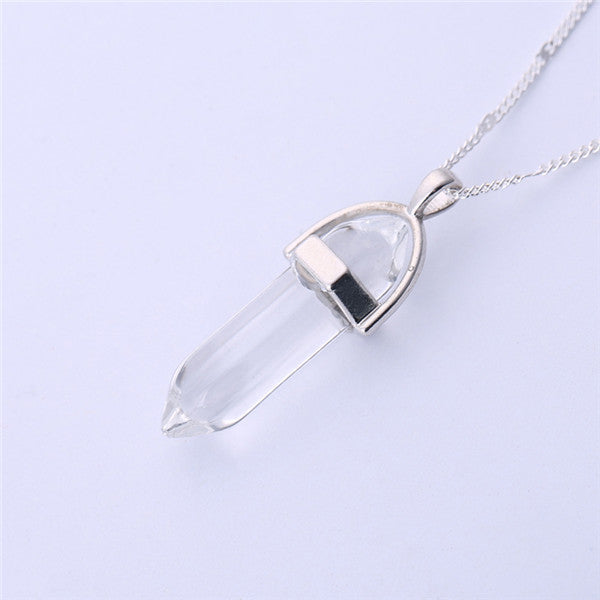Gros Collier Femme 2015 Multi Color Quartz Necklaces Pendants Natural Stone Bullet Shape Crystal Necklace For Women Bijoux Femme - Cerkos  - 10